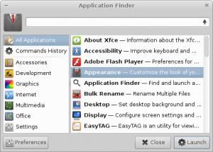 Buscador de aplicaciones Appfinder de XFCE