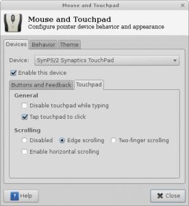 Gestor de configuraciones del mouse y touchpad